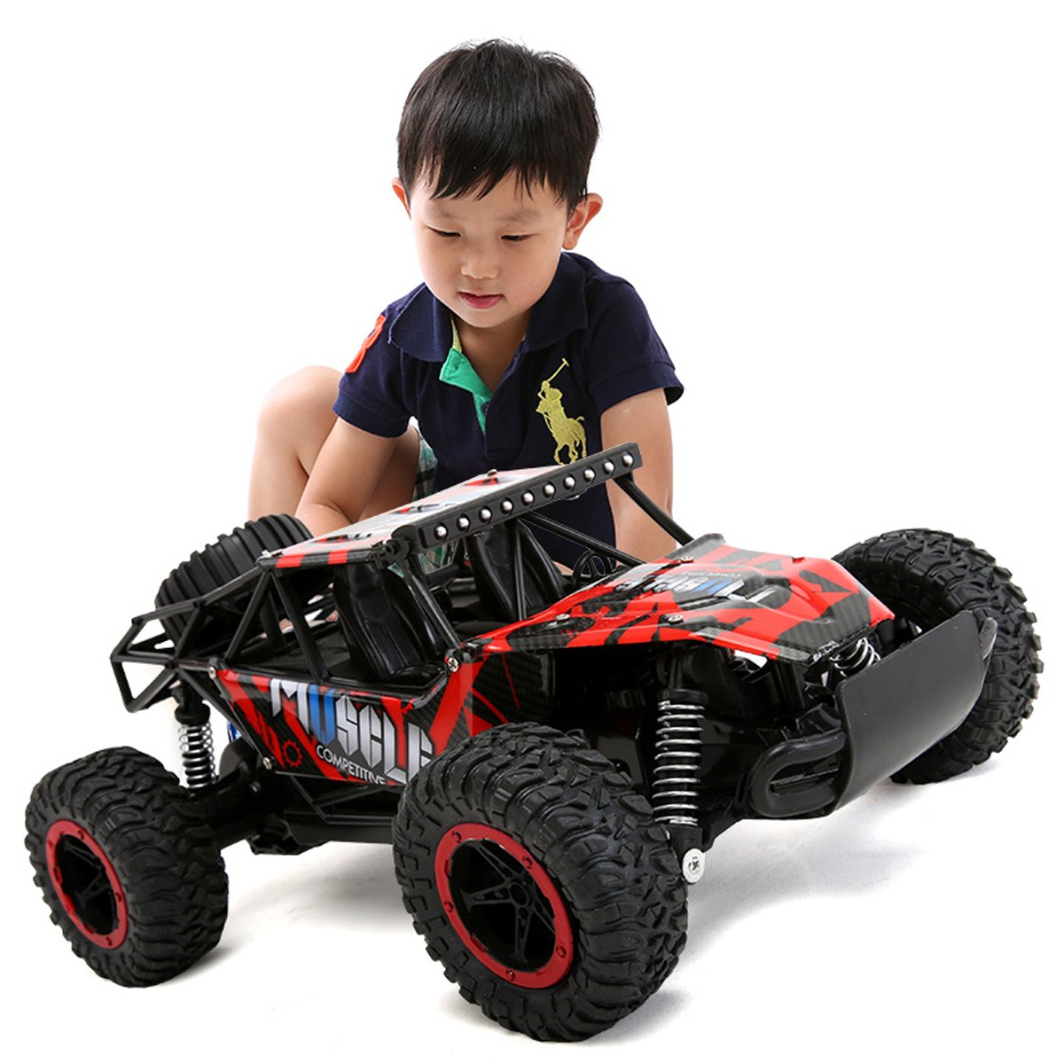 Hugine 1:16 20Km/h High Speed RC Car Off Road Vehicle 2.4G Racing Cars Monster Truck Dune Buggy Independent Suspension Radio Control Cars For Kids Adults Hobby Toys (Red)