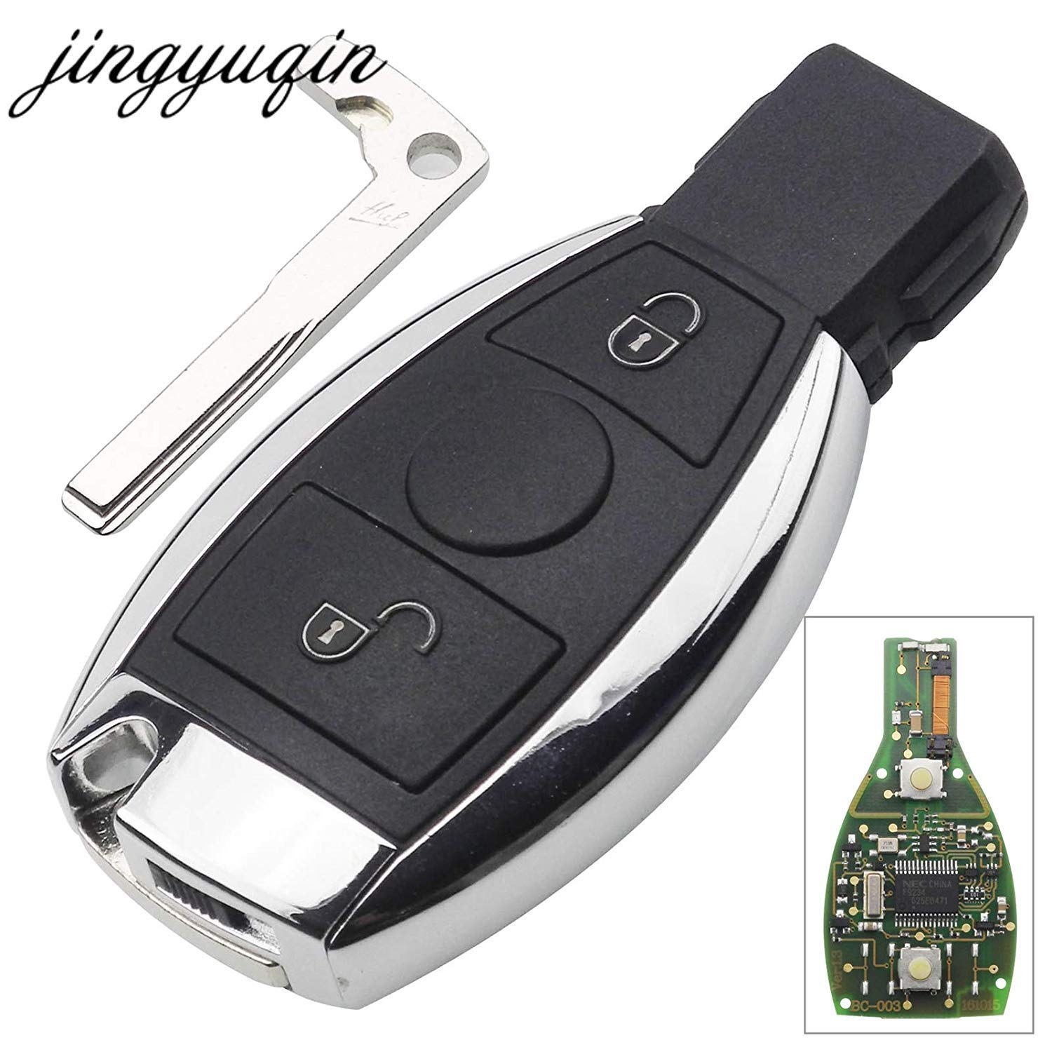 Jingyuqin BGA Style 2 Buttons Keyless Entry Remote Car Key 433MHz for MB Mercedes for Benz E S After 2000 Key Fob Replacement