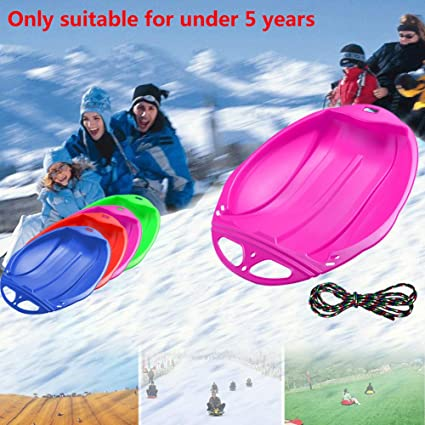 Unigant Children's Sleigh Downhill Plastic Toboggan Snow Sled Kids Plastic Snow Sleds with Pull Rope Winter Comfortable Toboggan Skiing Tools for Grass Skiing/Sand Boarding/Skiing (Pink) best sleds