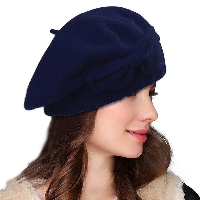 13b9df6ac92 Lawliet Womens 100% Wool Loretta Beret Nipple Beanie Basque Artist Cap A481  (Black)