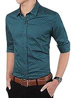 Men's Cotton Slim Fit Polka Dot Long Sleeve Button Down Shirt