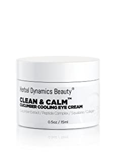 HD Beauty Clean & Calm Cucumber Cooling Eye Cream with Peptide Complex, Squalane, Cucumber Extract, Collagen, Neem Extract, and Hyaluronic Acid for Minimizing the Look of Fine Lines, Dark Circles, and Puffiness, 0.5 oz.