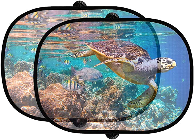 TMVFPYR Accordion Style Car SUV Front Windshield Sea Turtles Nautical Ocean Mint Green on White Sunshade
