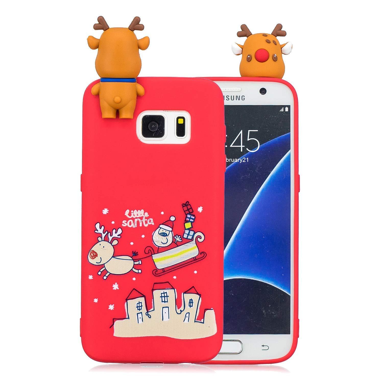 Noë l Coque pour Samsung Galaxy S7 Edge, É tui Silicone Galaxy S7 Edge Edge, Galaxy S7 Edge Case Cartoon 3D Mignonne Motif Christmas Noë l Flocon de Neige Housse de Protection Soft Case Étui Silicone Galaxy S7 Edge Edge Okssud DYY201800250