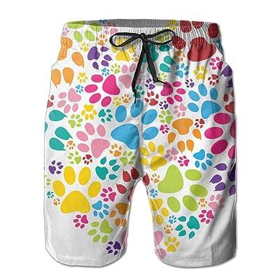 25ffe3ccfe Usieis Heart Paw Print Surfing Pocket Elastic Waist Men's Beach Pants Shorts  Beach Shorts Swim Trunks