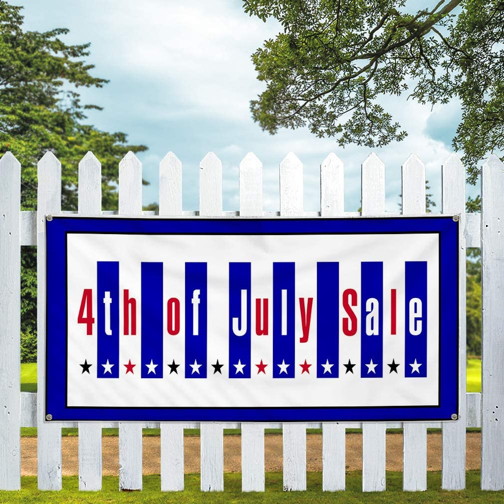 Vinyl Banner Sign 4th of July Sale Business 4th of July Sale Marketing Advertising Blue 4 Grommets Multiple Sizes Available 28inx70in Set of 2