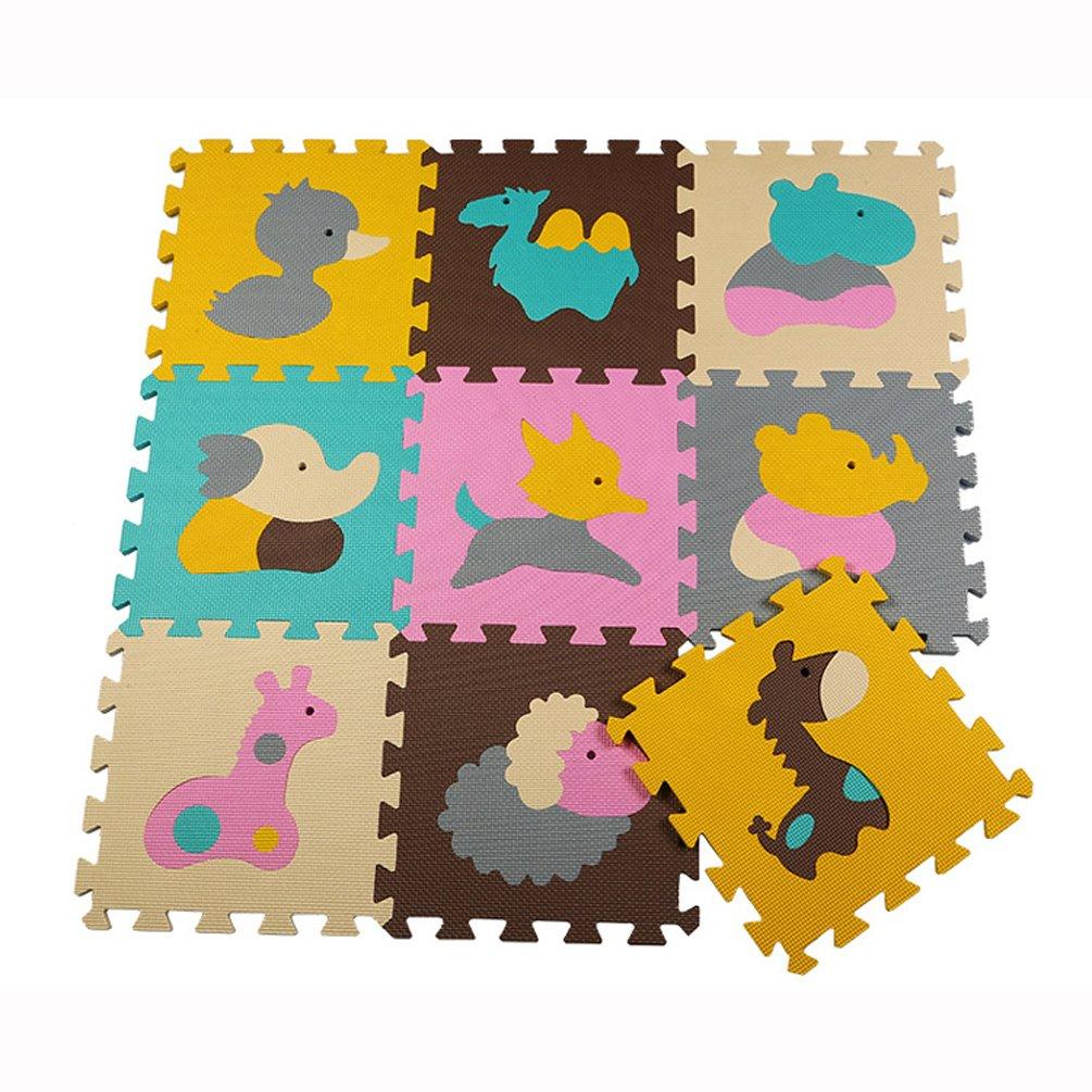 Menu Life P016 En mousse tapis de jeu Interlocking EVA Doux Jigsaw Tapis Puzzle En mousse Bébé Enfant Aire de jeux Mats Yoga d'exercice (30 x 30 x 1cm, 9pcs Jouer Mats Sans Clôtures) BaiLing