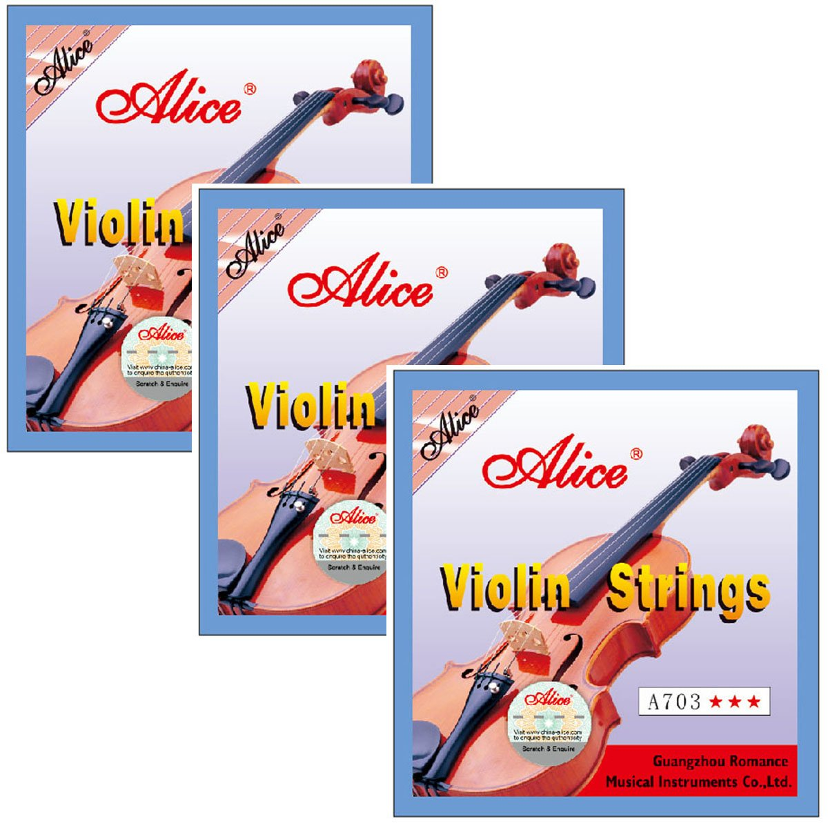 3 Packs Full Set Alice A703 Stainless Steel Core Cupronickel 4/4 Size Violin Strings E A D G
