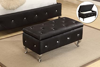 Kings Brand Furniture B5103 BE Storage Bench, Black