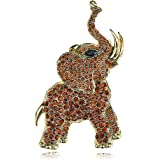 Alilang Golden Tone Brown Rhinestones Animal Baby Elephant Trunk Brooch Pin