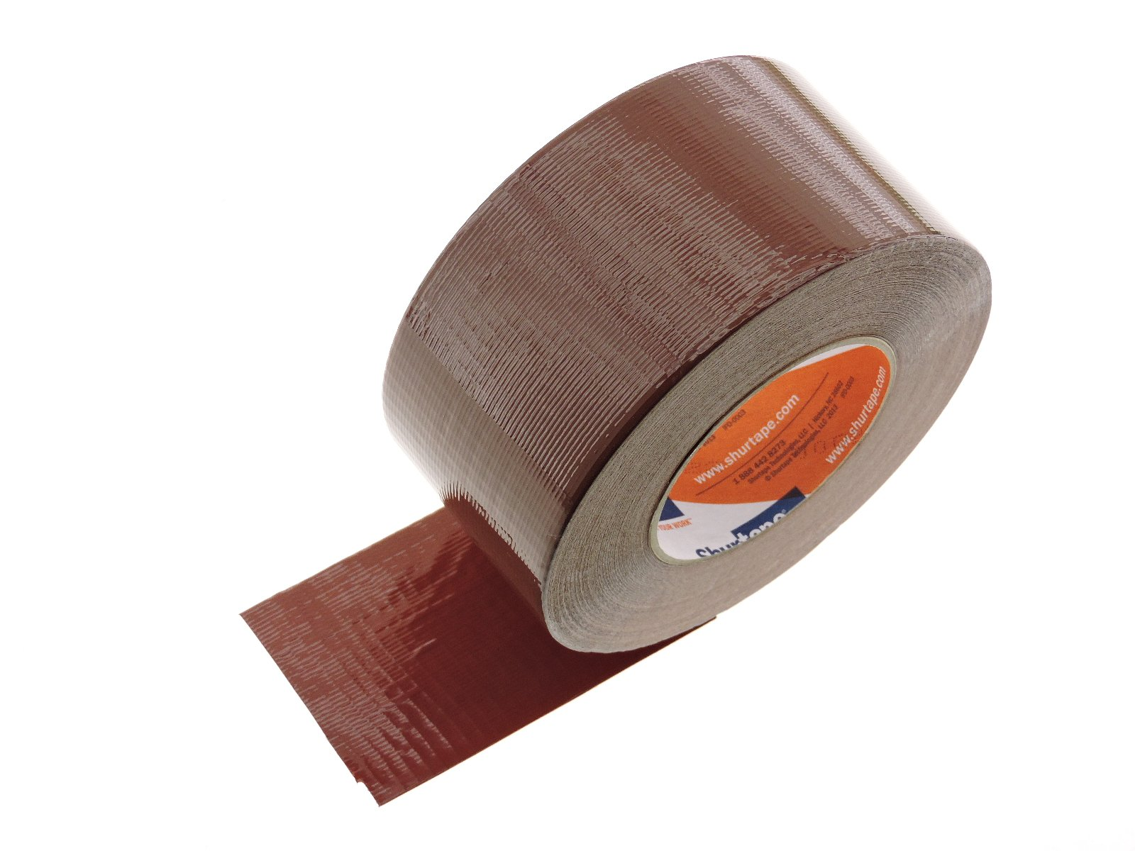 Shurtape 3'' in Brown Duct Tape PC-600 Heavy 9 mil Cloth Reinforced PE Back Duct Tape Water UV Resistant Hand Tearable 60yd USA Made 50 oz inch adhesion 16% elongation 22 lb in tensile strength