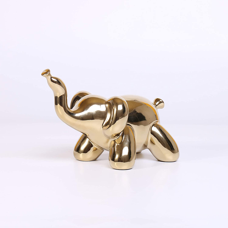 Ardax Gold Home Décor Balloon Figurine Accent, Small Ceramic Animal Statue Handmade Sculpture Ornament (Elephant)
