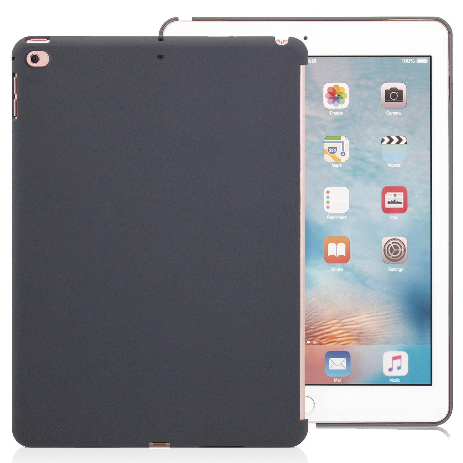 KHOMO Compatible with Apple iPad 9.7 Inch 2017 and 2018 Inch Charcoal Gray Color Case - Companion Cover - Perfect match for Apple Smart keyboard and Cover.