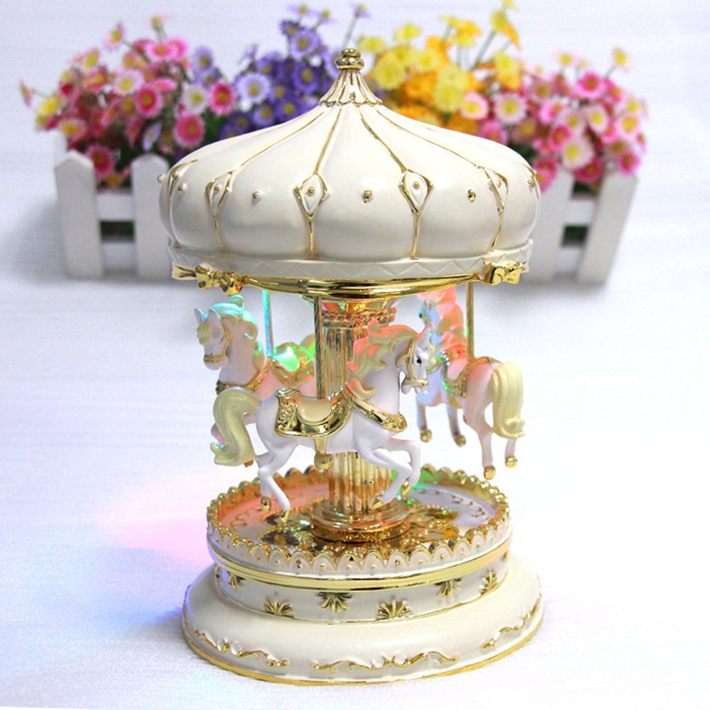 LIWUYOU Luxury Large Size Color Change LED Light Luminous Rotating Carousel Horse Music Box With the Castle in the Sky Tune Color Beige Liwuyou ecommerce Co. Ltd