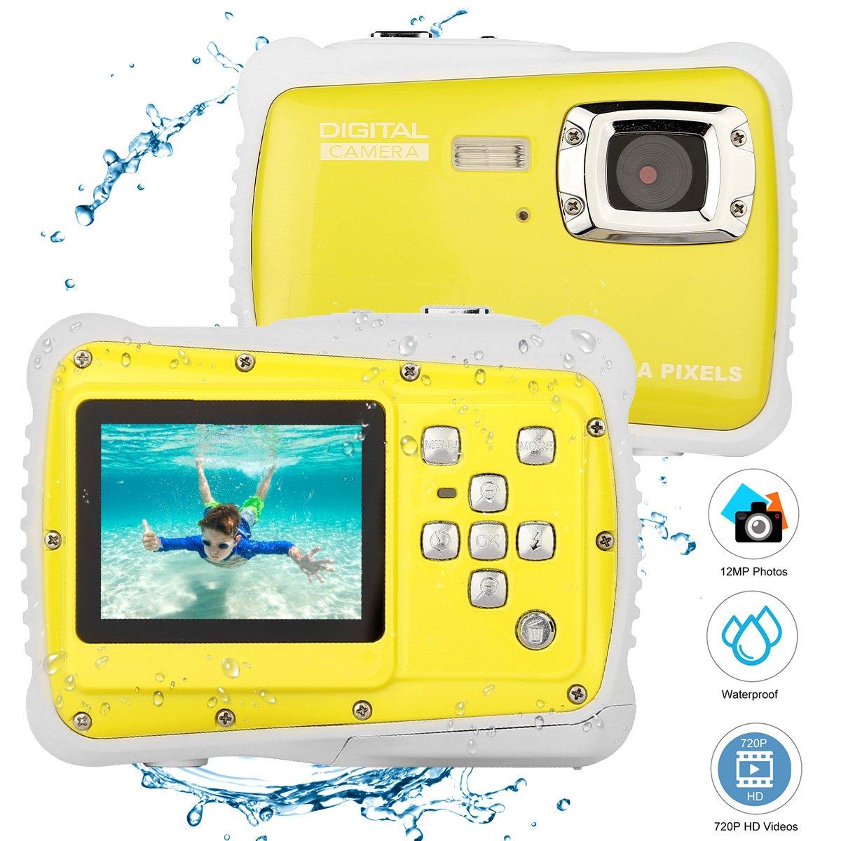 Bybrutek Kids Camera, 12MP HD Children Underwater 3M Waterproof Action Camera Camcorder, 2-Inch LCD, 4X Digital Zoom, 5 MP CMOS Digital Camera (Black) 4335045525