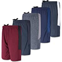 5-Pack Youth Dry-Fit Active Athletic Basketball Gym Shorts with Pockets Boys & Girls