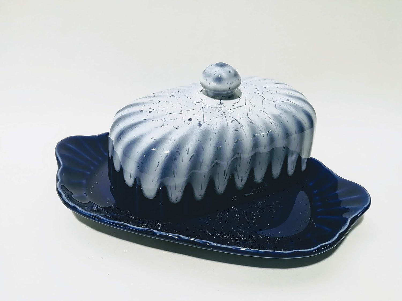 Butter Dish in Cobalt Blue Pottery Dishwasher Safe Craft Made in Our Workshop