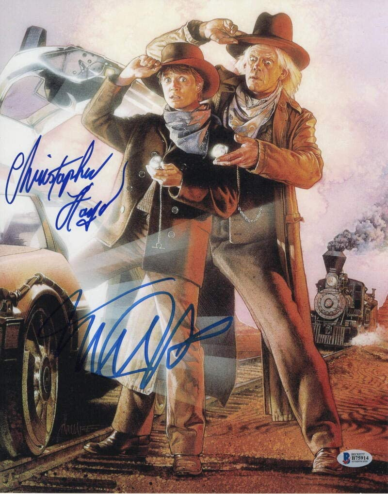 MICHAEL J FOX /& CHRISTOPHER LLOYD BACK TO THE FUTURE SIGNED PHOTO PRINT
