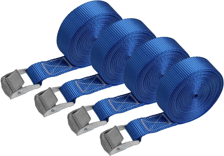 Correa de amarre cinturón de amarre con hebilla - azul - 2,5m 4m 6m - diferentes cantidades resistente a 250 kg DIN EN 12195-2, 4 piezas - 2.5 cm x 6 ...