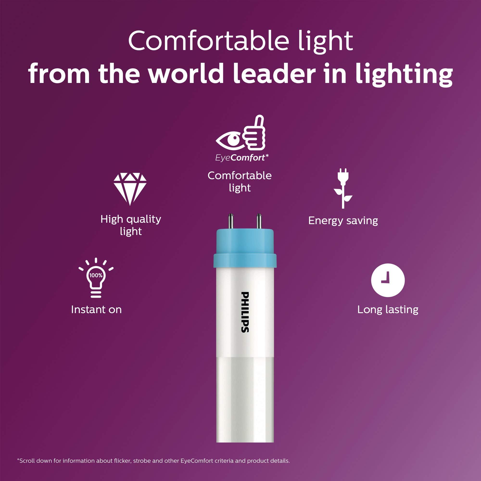 Philips LED InstantFit 4-Foot T8 Tube Light Bulb 1800-Lumen, 4000-Kelvin, 16 (32-Watt Equivalent), Medium Bi-Pin G13 Base, Cool White, 8 Pack, 544247, 4000 Kelvin, 8 Piece by PHILIPS (Image #7)