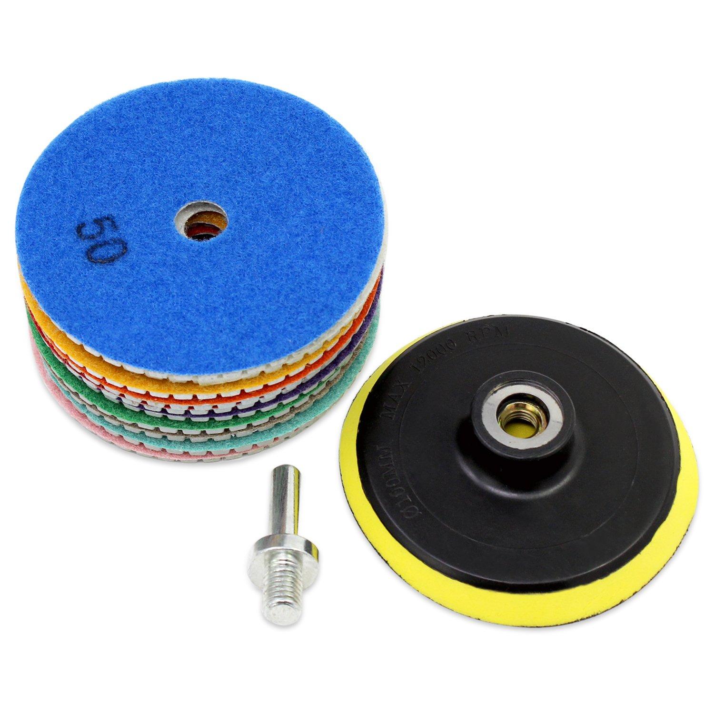 OCR Diamond Polishing Pad 4Inch Wet Polishing Wheel Set for Granite Concrete Stone Ceramic (4inch-11pcs)