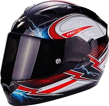 Scorpion Casco Moto EXO-1200 Air Fulgur, Black/White/Red, ...
