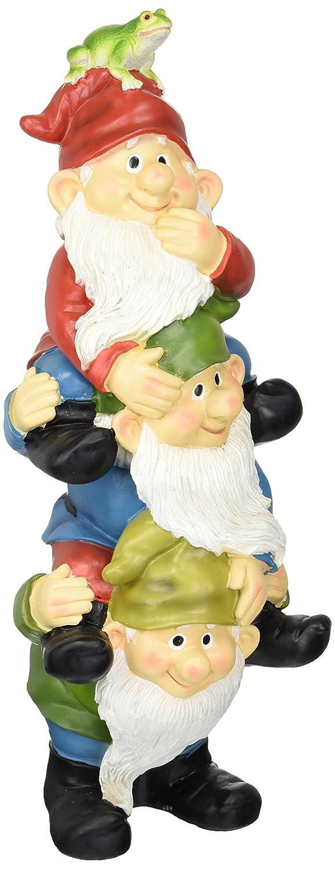 Design Toscano Garden GNOME Statua - Torre di Tre Gnomi - Outdoor Garden Gnomes - Statue Divertente Prato GNOME QM2360300