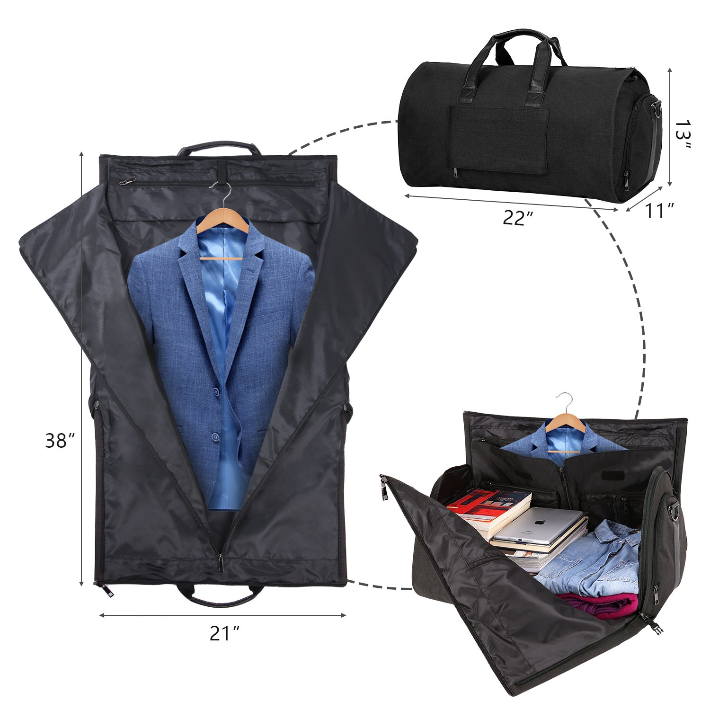 Carry-on Garment Bag Suit Travel Bag Duffel Bag Weekend Bag Flight Bag Gym Bag - Black by UNIQUEBELLA (Image #6)