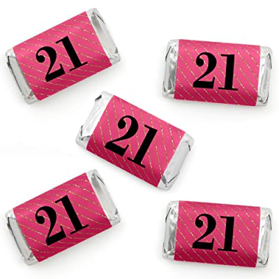 Finally 21 Girl - Mini Candy Bar Wrapper Stickers - 21st Birthday Party Small Favors - 40 Count: Toys & Games