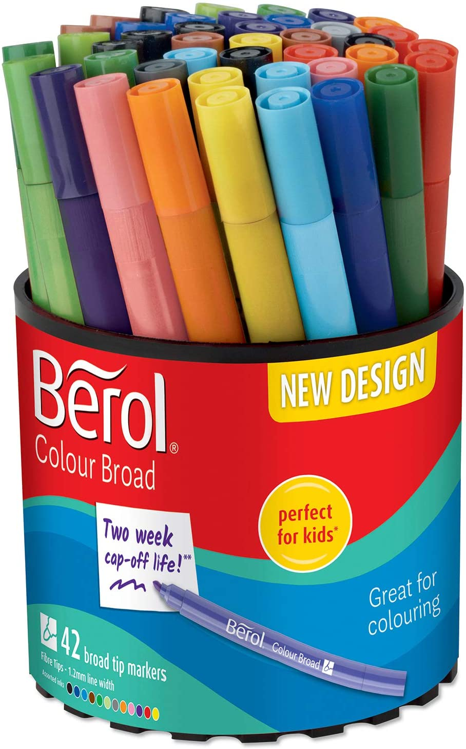 12 Black Berol Pens Broad Felt Tips Washable School Art Drawing Design Comic
