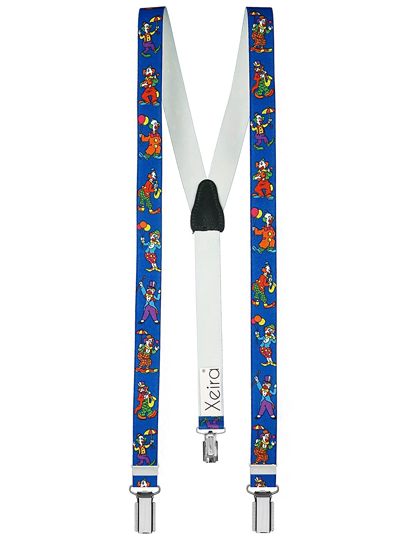 Xeira  Bretelles pour enfants de haute qualité avec empiècement en vrai cuir Clown Design/Jaune / Rouge/Bleu / Vert/Rose / Blanc
