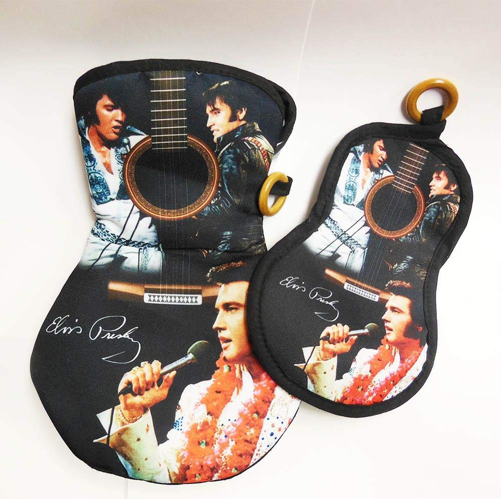 Midsouth Products Elvis Pot Holder Oven Mitt Set Guitar with 3 Images