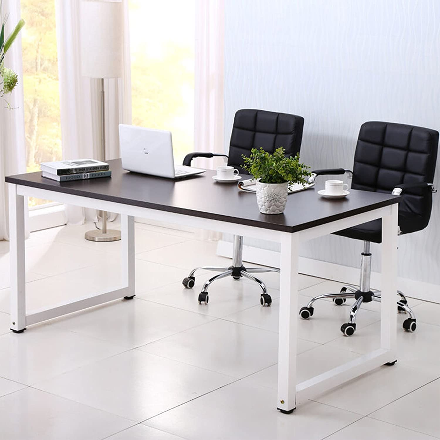 Amazon com mecor 43large mdf computer office desk pc laptop table study work station home office furniture black kitchen dining