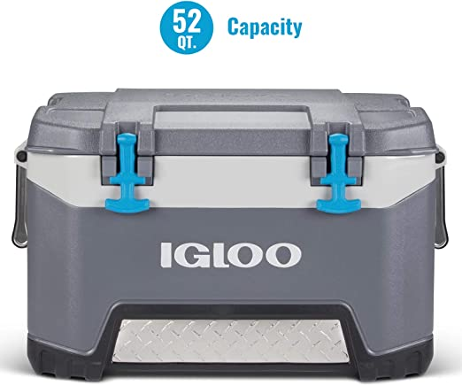 Amazon.com : Igloo BMX 52 Quart Cooler with Cool Riser Technology, Fish Ruler, and Tie-Down Points - 16.34 Pounds - Carbonite Gray and Blue : Sports & Outdoors