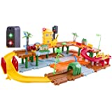 WolVol Kids Big Train Tracks Set Toy with Upper and Lower Level, Tunnels and Bridges, with Battery Operated Train and a Real Working Traffic Red/Green Light (with sounds)
