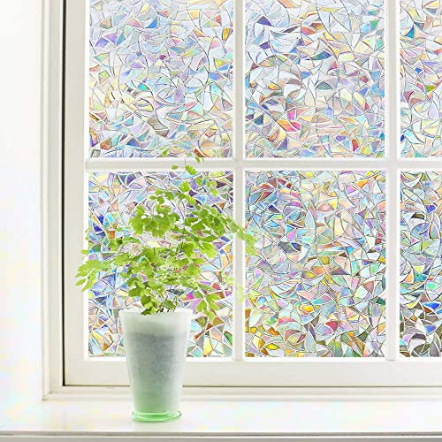 Finnez Window Film Decorative Privacy Film 3D No Glue Holographic Glass Sticker for Glass Door Home House Ofiice Heat Control Anti UV 35.4 x 157.4 inches