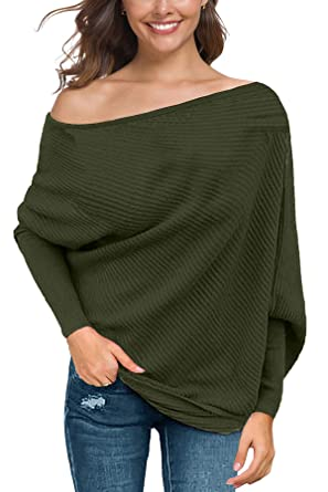 9df06520ae BLINGLAND Women s Off Shoulder Batwing Sleeve Sweater Loose Pullover Knit  Jumper Oversized Tunics Top Army Green