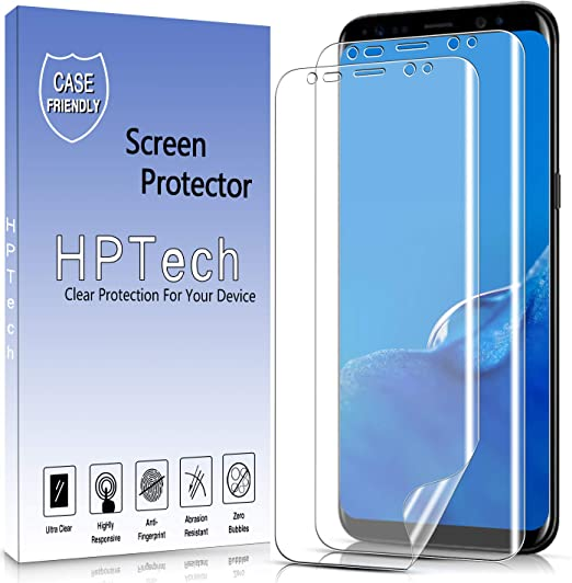 Amazon Com 2 Pack Hptech Screen Protector For Samsung Galaxy S8 Full Coverage Pet Film Hd Clear Bubble Free Case Friendly
