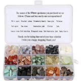 Crystal Quartz Stone,Charminer 470g 15-Stone Mix: White & Red Agate,Sunstone,Aventurine Jade,Citrine,Amazonite,Smoky Quartz,Golden Obsidian,Snowflake Stones,Natural Stones For Cabbing,Healing Set