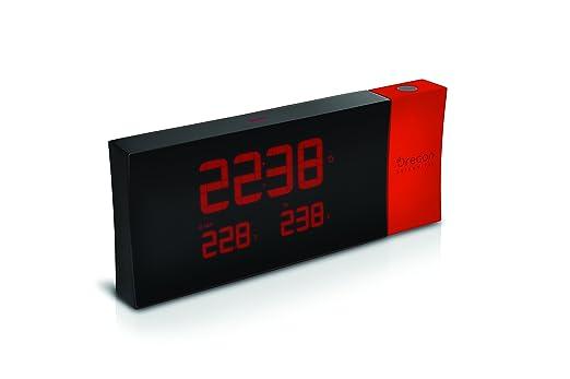 Oregon Scientific RMR221P Reloj proyector con despertador y temperatura interior y exterior, alarma dual, pantlla LCD, Negro/Rojo