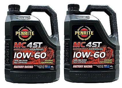 Penrite MC-4 ST 100% PAO Ester 10W-60 Aceite para Motocicleta, 4 ...