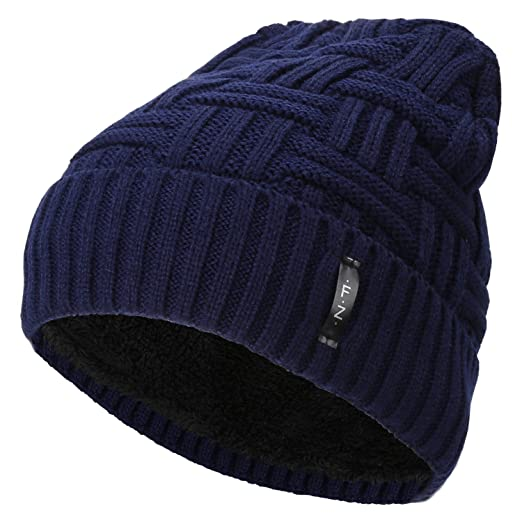 1d39e124316 Fantastic Zone Beanies Skull Caps Striped Knit Skull Caps Beanie Winter Hats  For Men Blue One