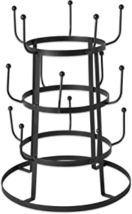"""DII 5464 3 Tier Countertop or Pantry Vintage Metal Wire Tree Stand for Coffee, Glasses, and Cups, 15 Mug Capacity, 9.5""""D x 12.8""""H, Black"""