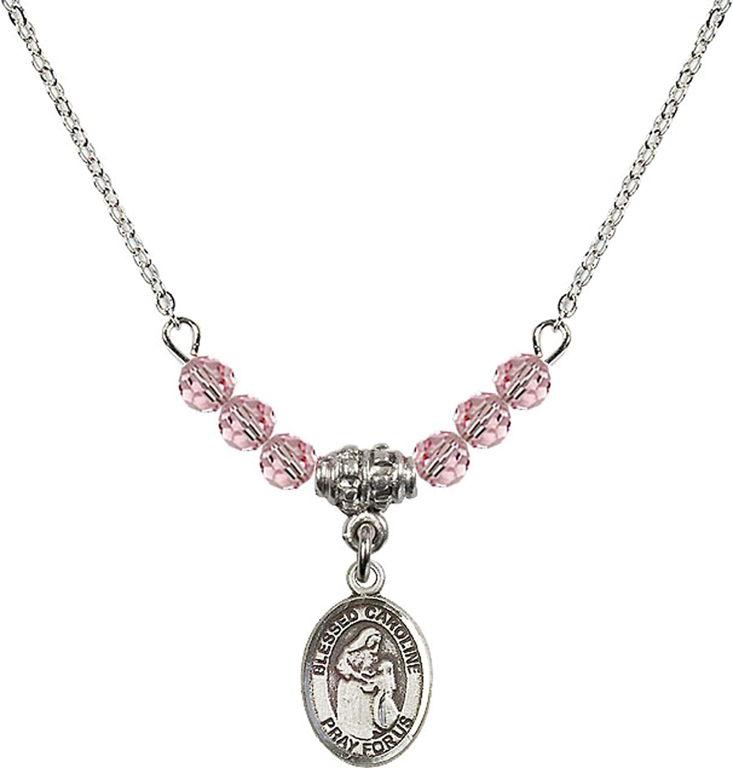 Bonyak Jewelry 18 Inch Rhodium Plated Necklace w// 4mm Light Rose Pink October Birth Month Stone Beads /& Blessed Caroline Gerhardinger Charm