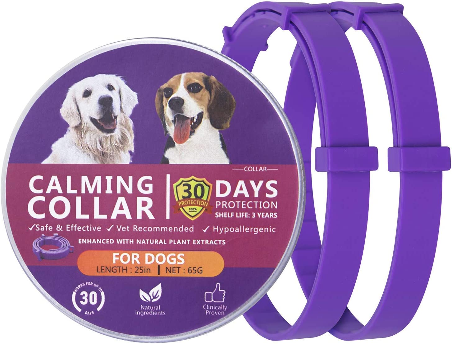 Dog Calming Collar, Calming Collar for Dogs Relieve Reduce Anxiety, Natural Calming Dog Collars, Adjustable pheromone Collar for Dogs