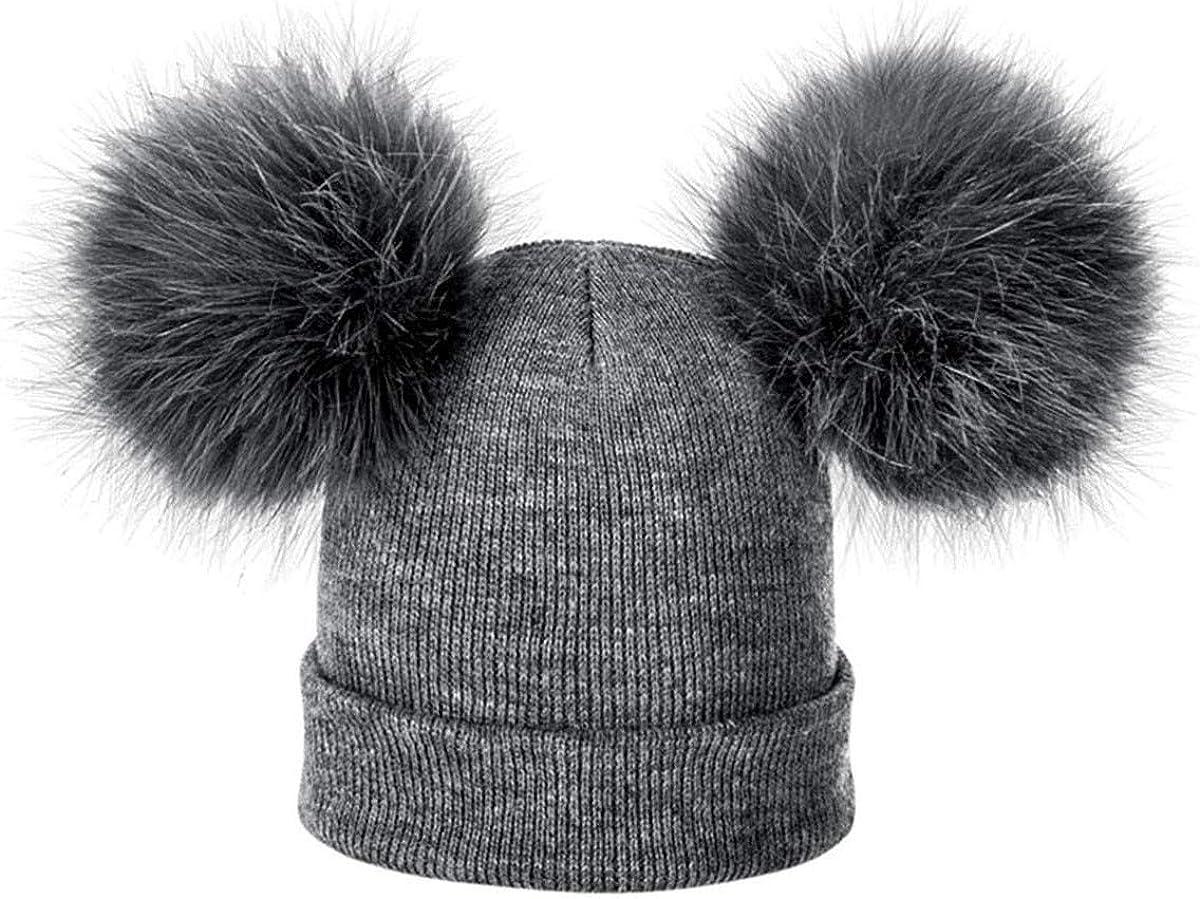 ECYC Children Hat Toddler Kids Baby Warm Winter Wool Hat Knit Beanie Fur Pom Pom Hat 1-4 Years