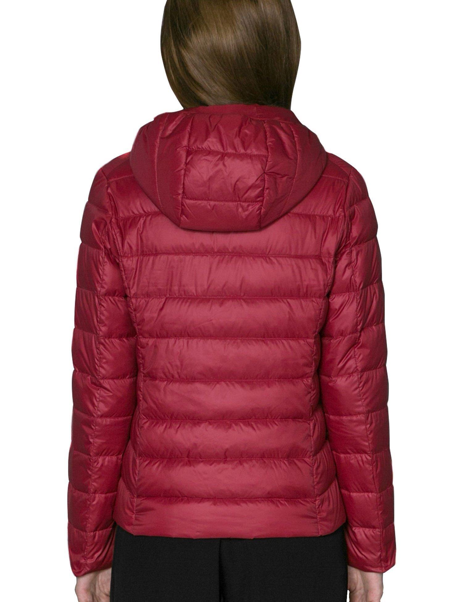 CHERRY CHICK Ultralight, Packable Women's Puffer Down Hooded Parka Jacket (XL, Matt Red-LD)