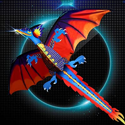 Batyuery 3D Dragon Kite with Tail Kites with 100m Kite Line Easy to Fly Kite for Kids and Adults Great for Beach and Outdoor Activities: Toys & Games
