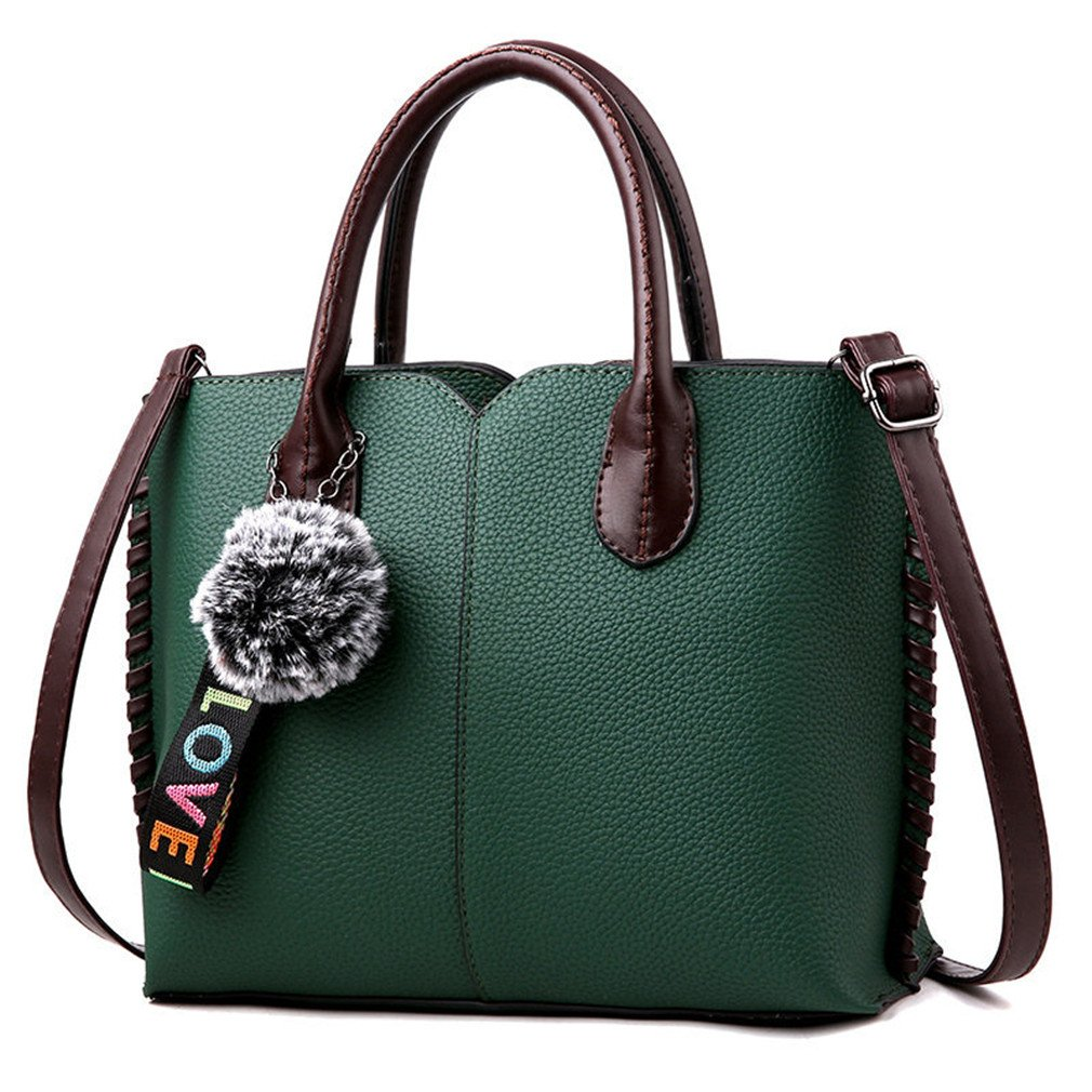PU Leather Fur Casual Women Handbags Female Bags Handbags Fashion Handbag Ladies Crossbody Messenger Shoulder Hand Bag Tote Green One Size