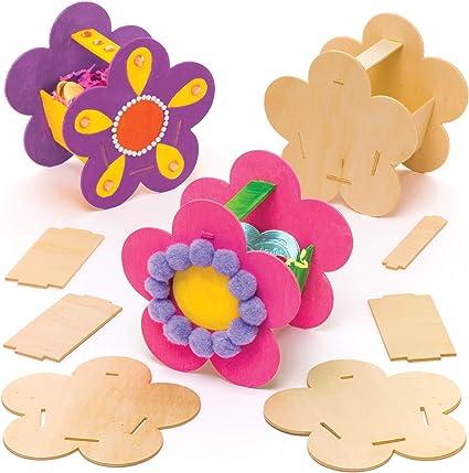 Artes y Manualidades para Ni/ños Baker Ross Kits de Costura de Madera Flores Paquete de 4
